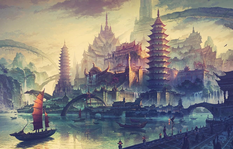 Photo wallpaper sunset, bridge, the city, river, dawn, Asia, ship, home, morning, promenade, concept art, the artist …