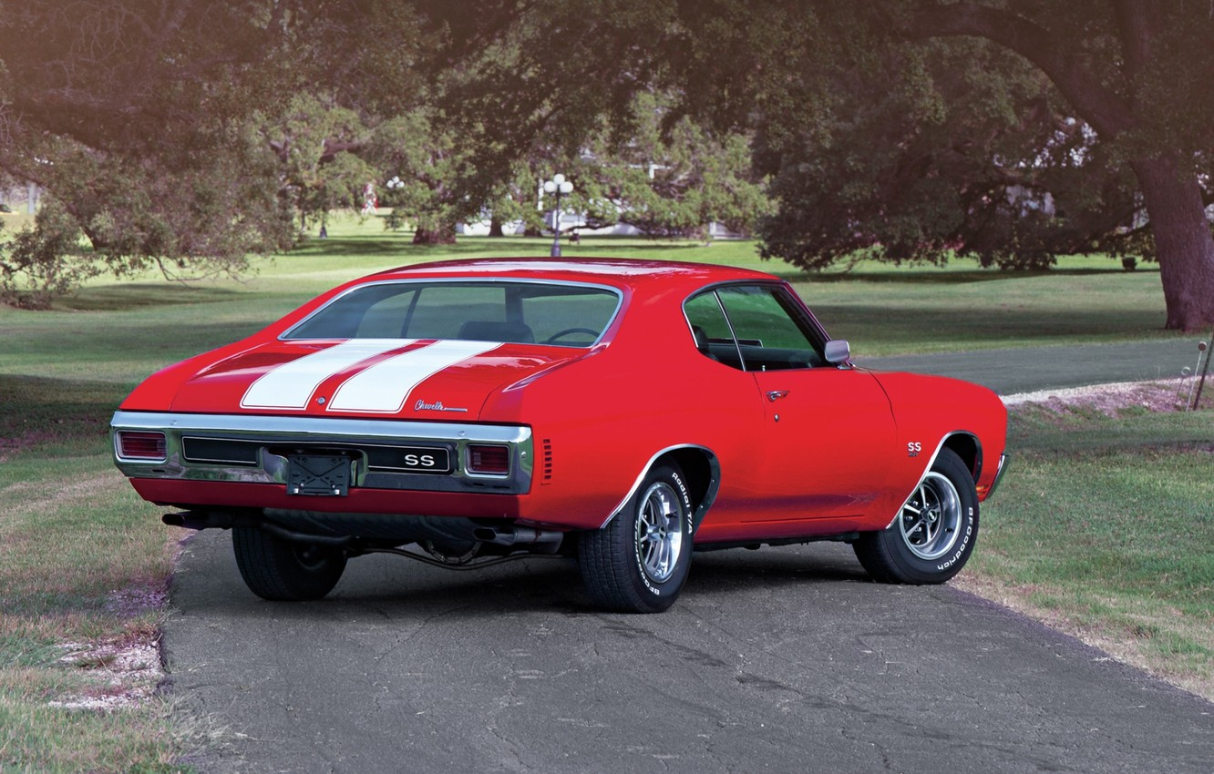 Photo wallpaper road, trees, red, coupe, Chevrolet, Chevrolet, rear view, Coupe, 1970, 454, Chevelle, Muscle car, Hardtop, …