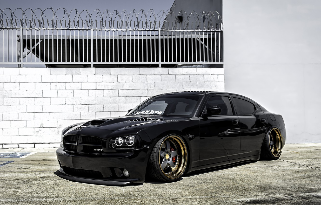 Photo wallpaper black, tuning, black, Dodge, dodge, charger, the charger
