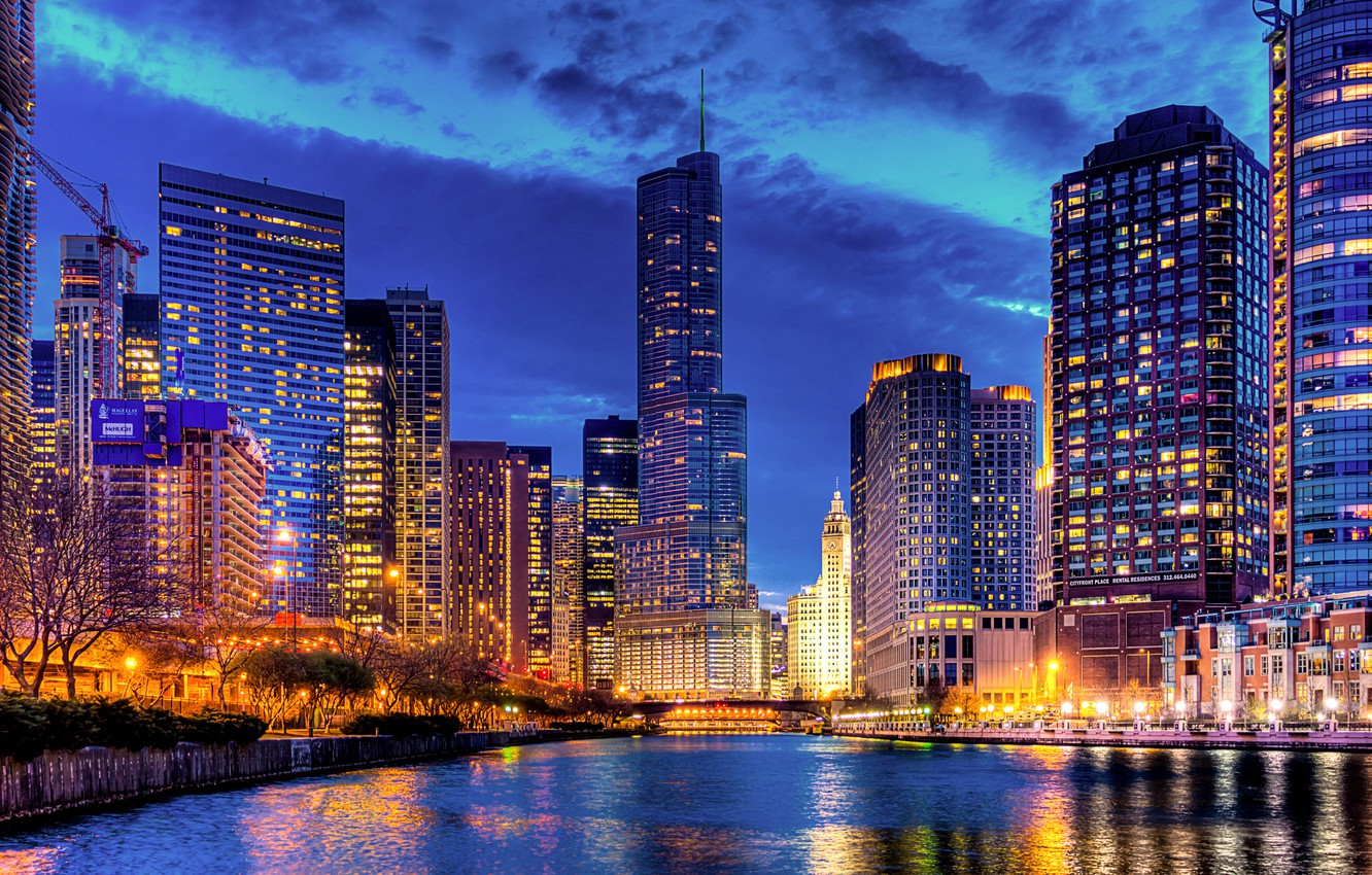 Photo wallpaper light, the city, lights, reflection, river, building, tower, home, skyscrapers, the evening, Chicago, USA, USA, …
