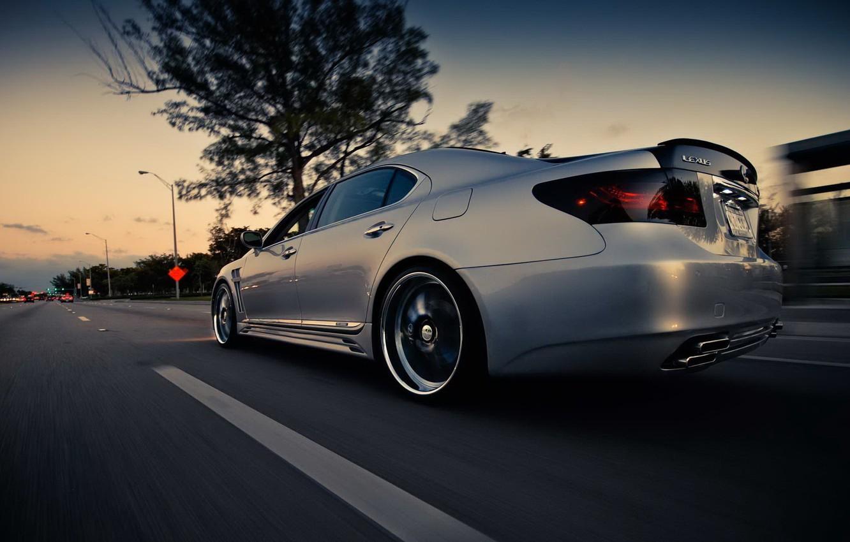 Photo wallpaper road, speed, lexus