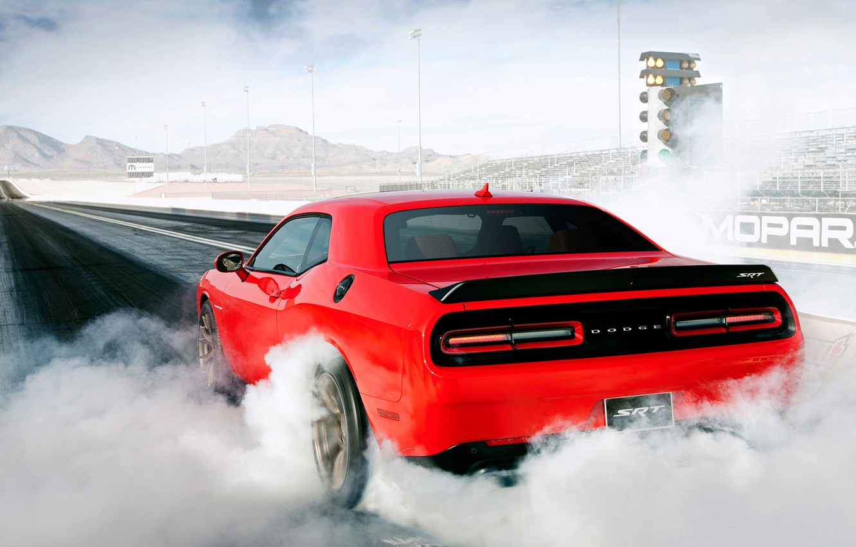 Photo wallpaper Dodge, Challenger, muscle, mopar, burnout, SRT, drag racing, grag