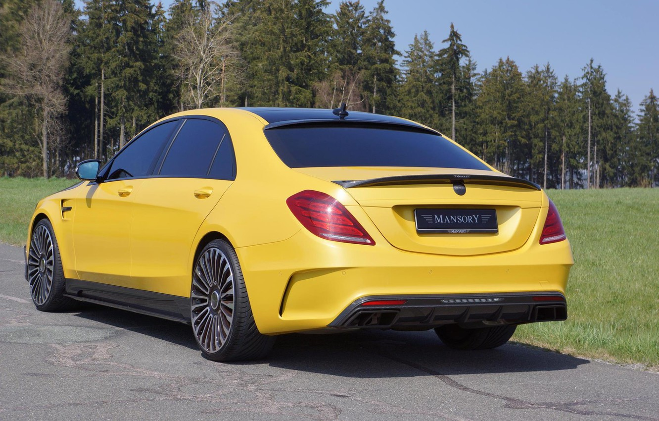 Photo wallpaper Tuning, Mercedes, Carbon, AMG, Yellow, Mansory, S63