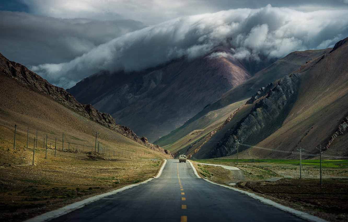 Photo wallpaper road, machine, clouds, mountains, clouds, Tibet