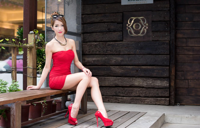 Photo wallpaper summer, girl, face, hair, dress, heels, legs, Asian