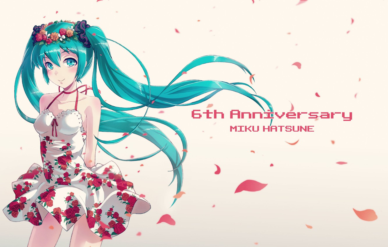 Photo wallpaper look, girl, smile, petals, vocaloid, hatsune miku, Vocaloid, art, simple background, 40hara