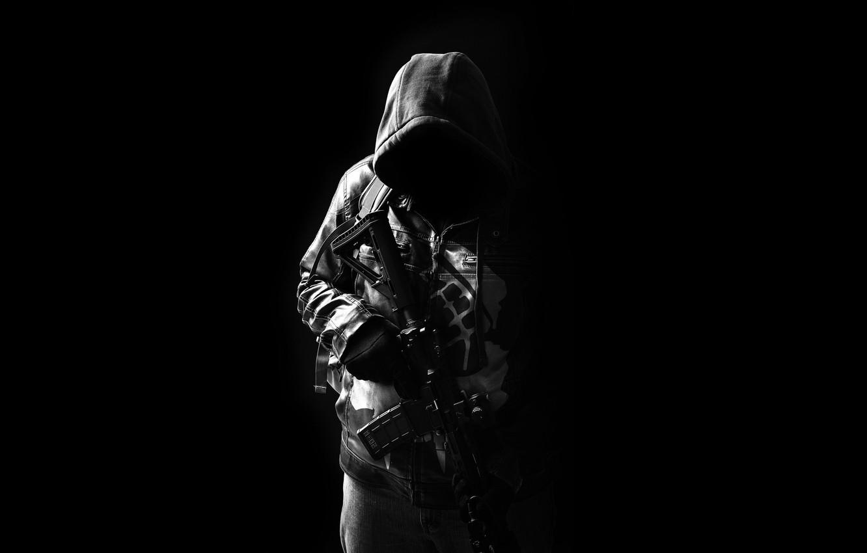 Photo wallpaper weapons, hood, male, assault rifle
