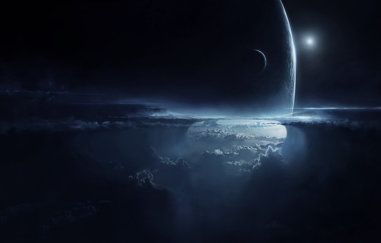 Photo wallpaper the sky, clouds, night, planet, height, satellite, the atmosphere, art