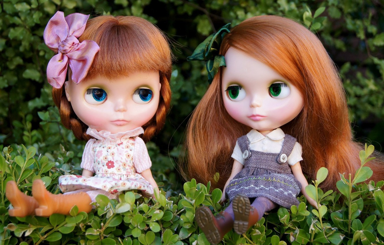 Photo wallpaper nature, girls, toys, doll, red, sitting