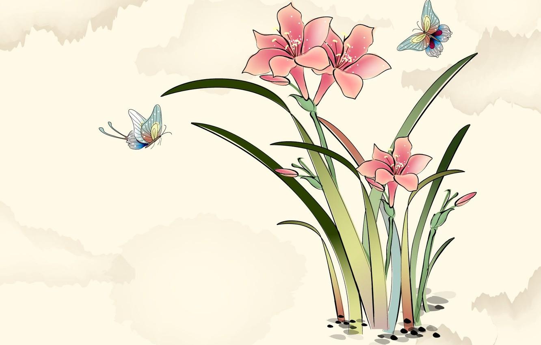 Photo wallpaper flowers, butterfly, art, watercolor