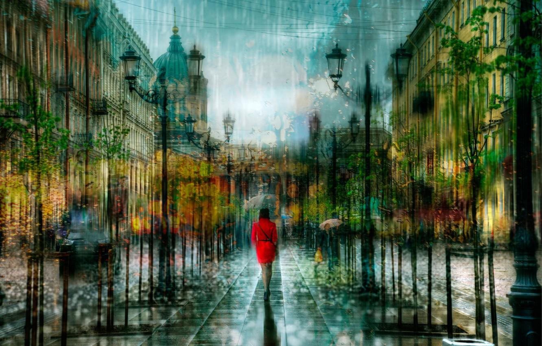 Photo wallpaper girl, drops, rain, treatment, Saint Petersburg