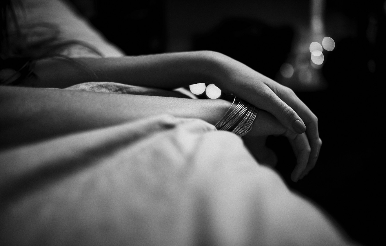 Photo wallpaper hands, black and white, bracelets, manicure