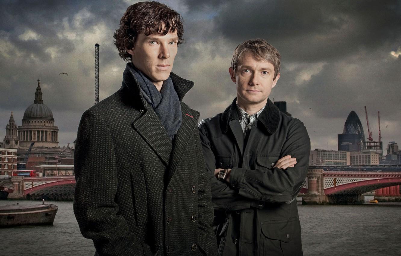 Photo wallpaper London, the series, London, Martin Freeman, serial, Martin Freeman, Holmes, Benedict Cumberbatch, Sherlock, Benedict Cumberbatch, …