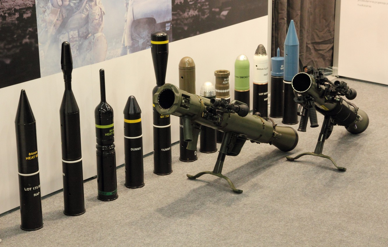 Photo wallpaper gun, weapon, army, rifle, ammunition, show, cannon, Swedish, olive, exhibition, M3, Swedish armed forces, recoilless …