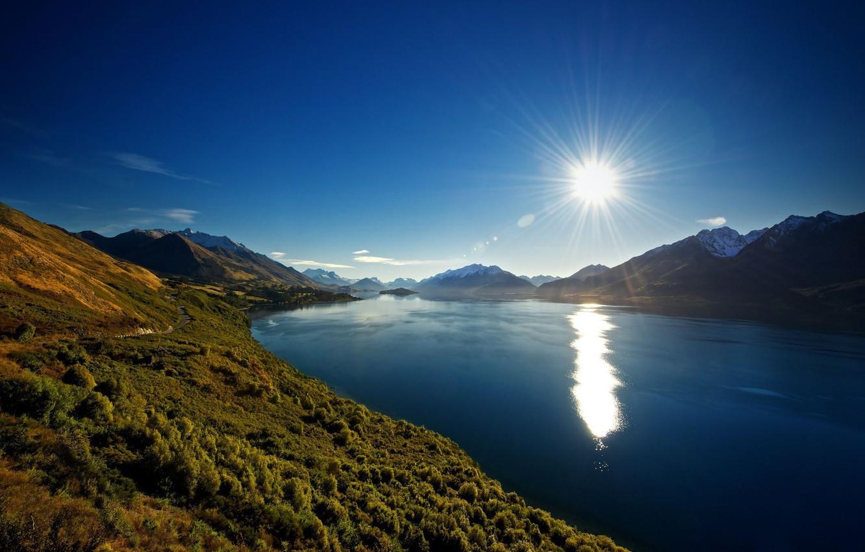 Photo wallpaper the sun, mountains, river
