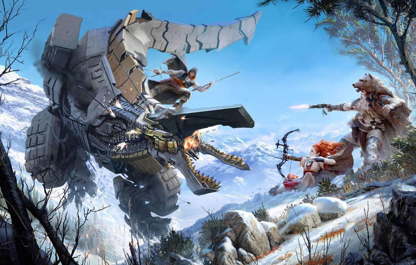 Wallpaper The Sky Girl Mountains Look Robot Trees Snow Fire Fur Bow Weapons Hunter Playstation 4 Sony Computer Entertainment Guerrilla Games Hunting Images For Desktop Section Igry Download