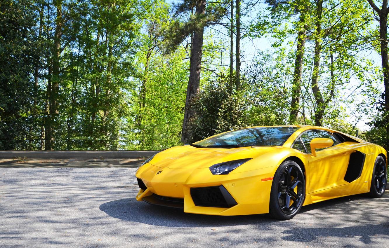 Photo wallpaper Lamborghini, Yellow, Aventador