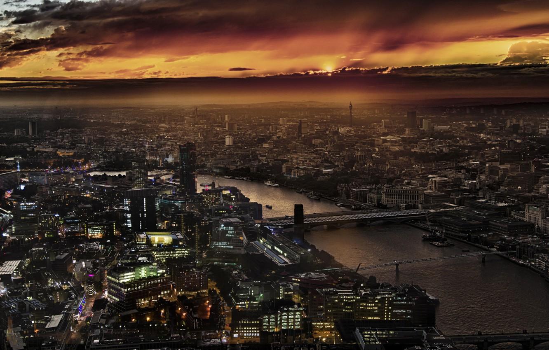 Photo wallpaper City, Landscape, Sunset, London, England, Thames, Shard