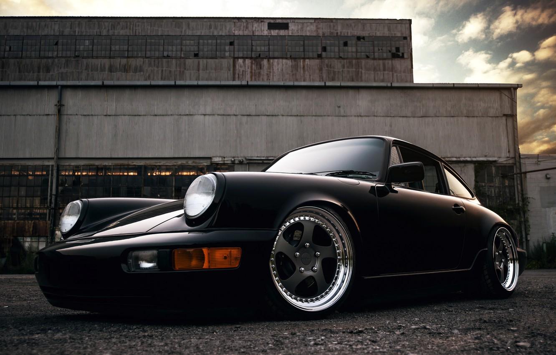 Photo wallpaper 911, Porsche, black, front, 964, Carrera 2
