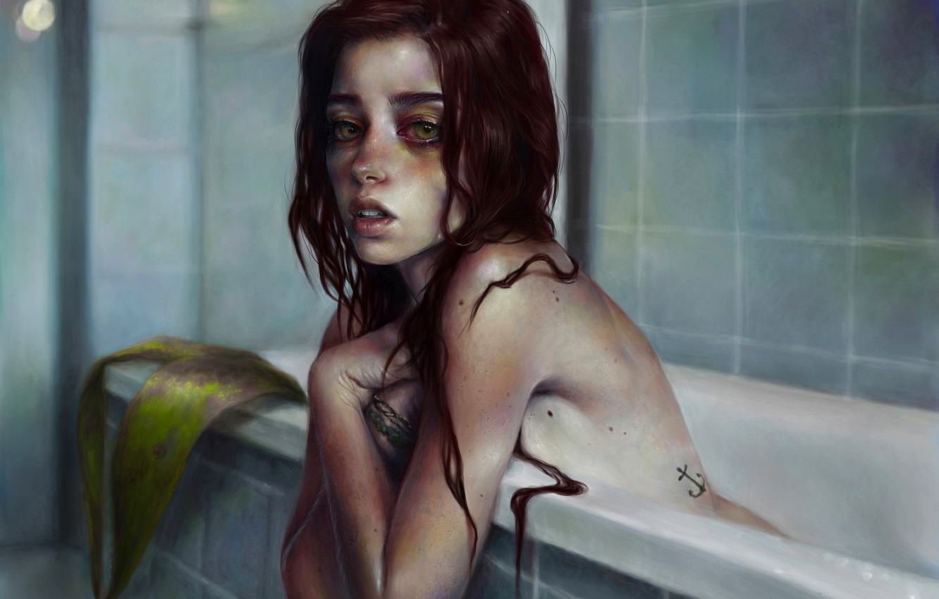 Photo wallpaper look, girl, face, mermaid, art, bath, red