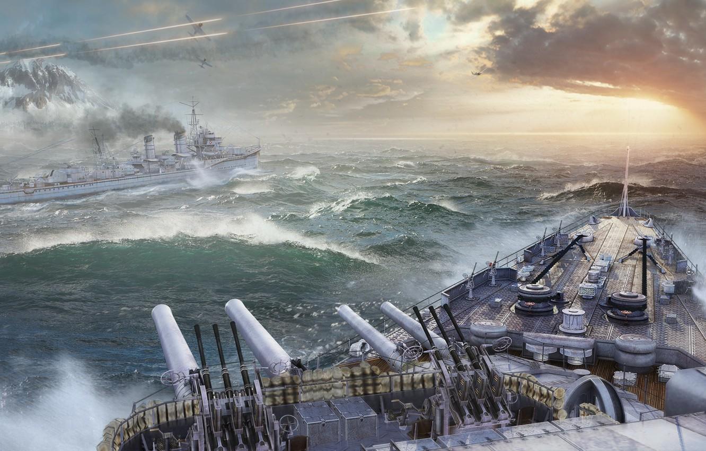 Photo wallpaper Sunset, The sky, Water, Clouds, Sea, Mountains, Wave, Smoke, Aircraft, Ship, Storm, Ships, Shooting, Wargaming …