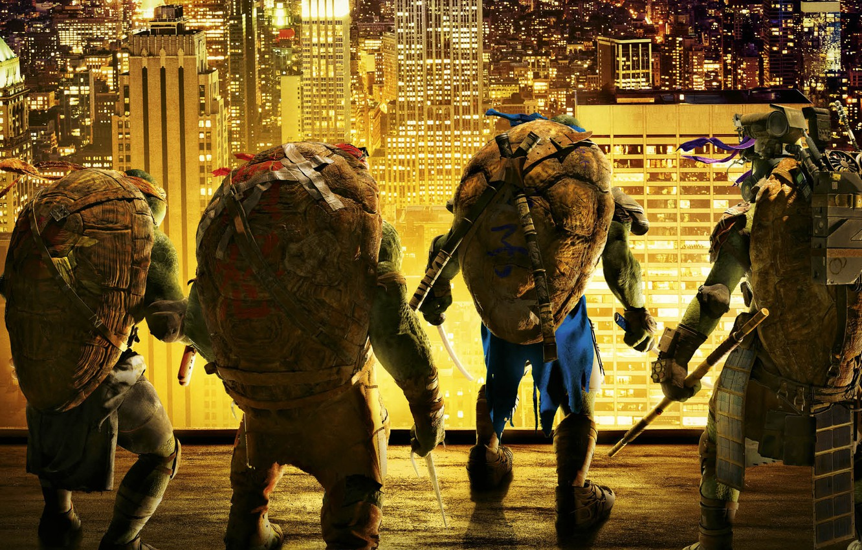 Photo wallpaper roof, night, the city, lights, weapons, fiction, fantasy, heroes, Teenage mutant ninja turtles, brothers, Raphael, …