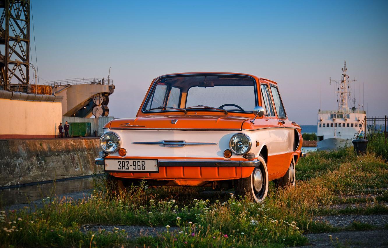 Photo wallpaper machine, auto, retro, Wallpaper, ship, USSR, wallpaper, classic, cars, sailors, ZAZ, Zaporozhets, 968, constipation