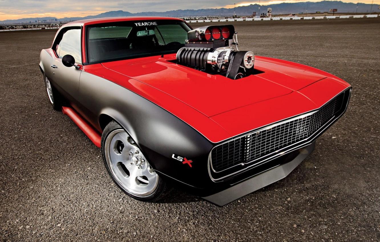 Photo wallpaper car, auto, muscle car, supercharger, camaro, chevrolet