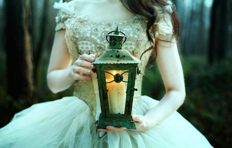 Photo wallpaper girl, candle, lantern, Bella Kotak, In the Twilight hours