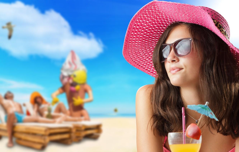 Wallpaper Girl Summer Beach Party Hat Pink Beautiful