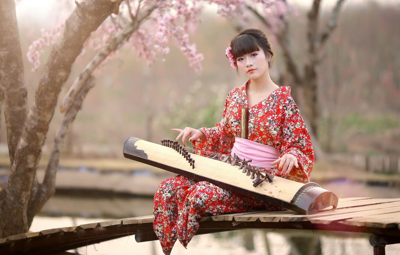 Photo wallpaper girl, music, Asian
