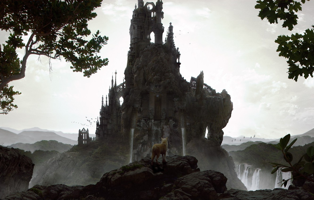 Photo wallpaper trees, rock, stones, castle, tower, waterfall, wolf