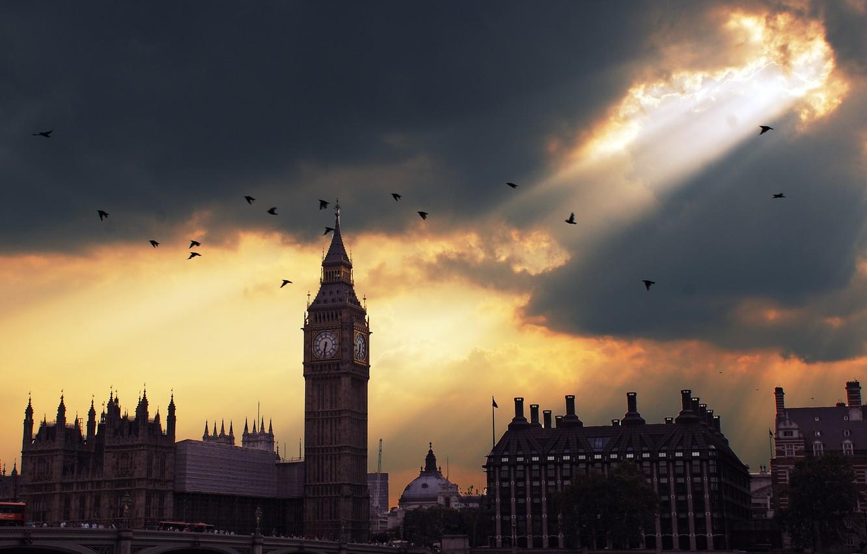 Photo wallpaper sunset, London, Big Ben, sunset, London, Big Ben