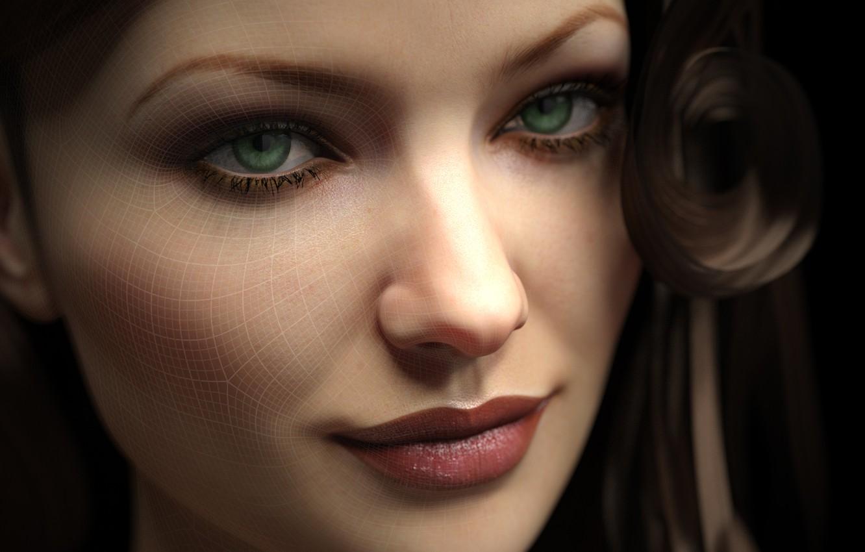 Photo wallpaper look, girl, face, rendering, mesh, green eyes