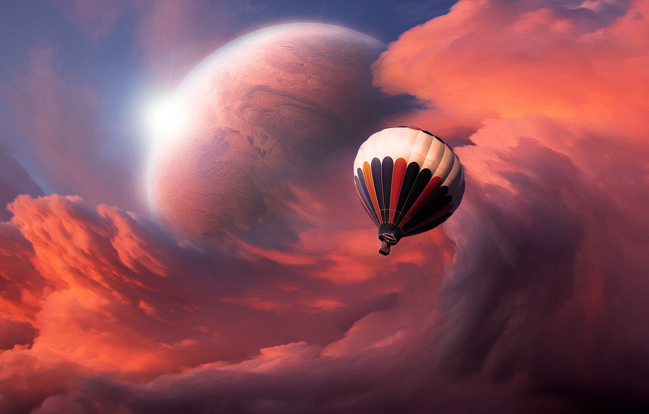 Photo wallpaper the sky, clouds, planet, Balloon