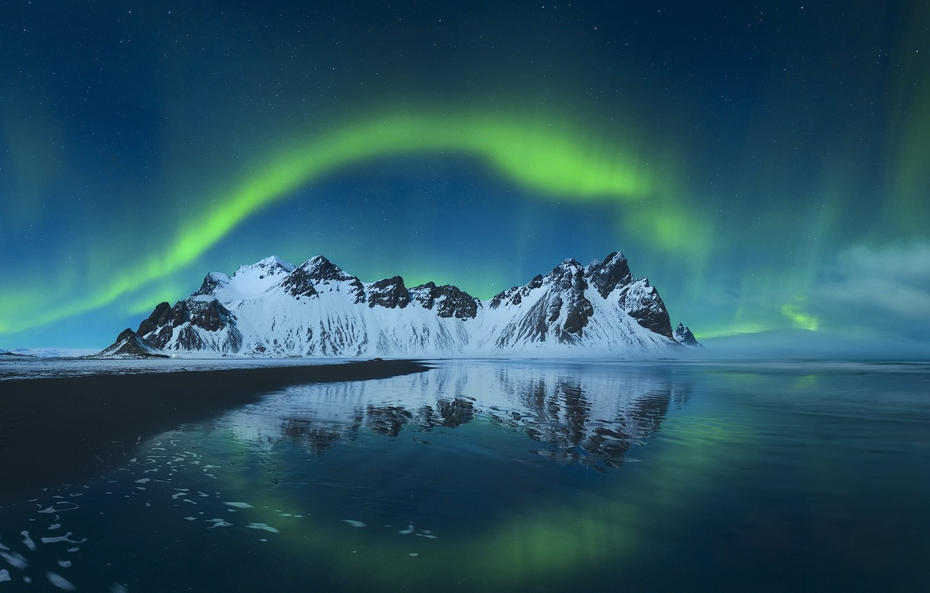 Photo wallpaper mountains, night, Northern lights, Iceland, Stones
