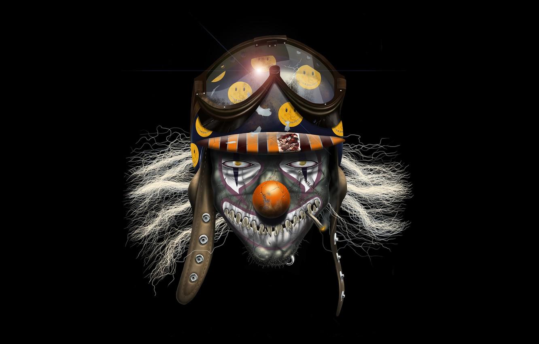 Photo wallpaper monster, teeth, clown, glasses, helmet