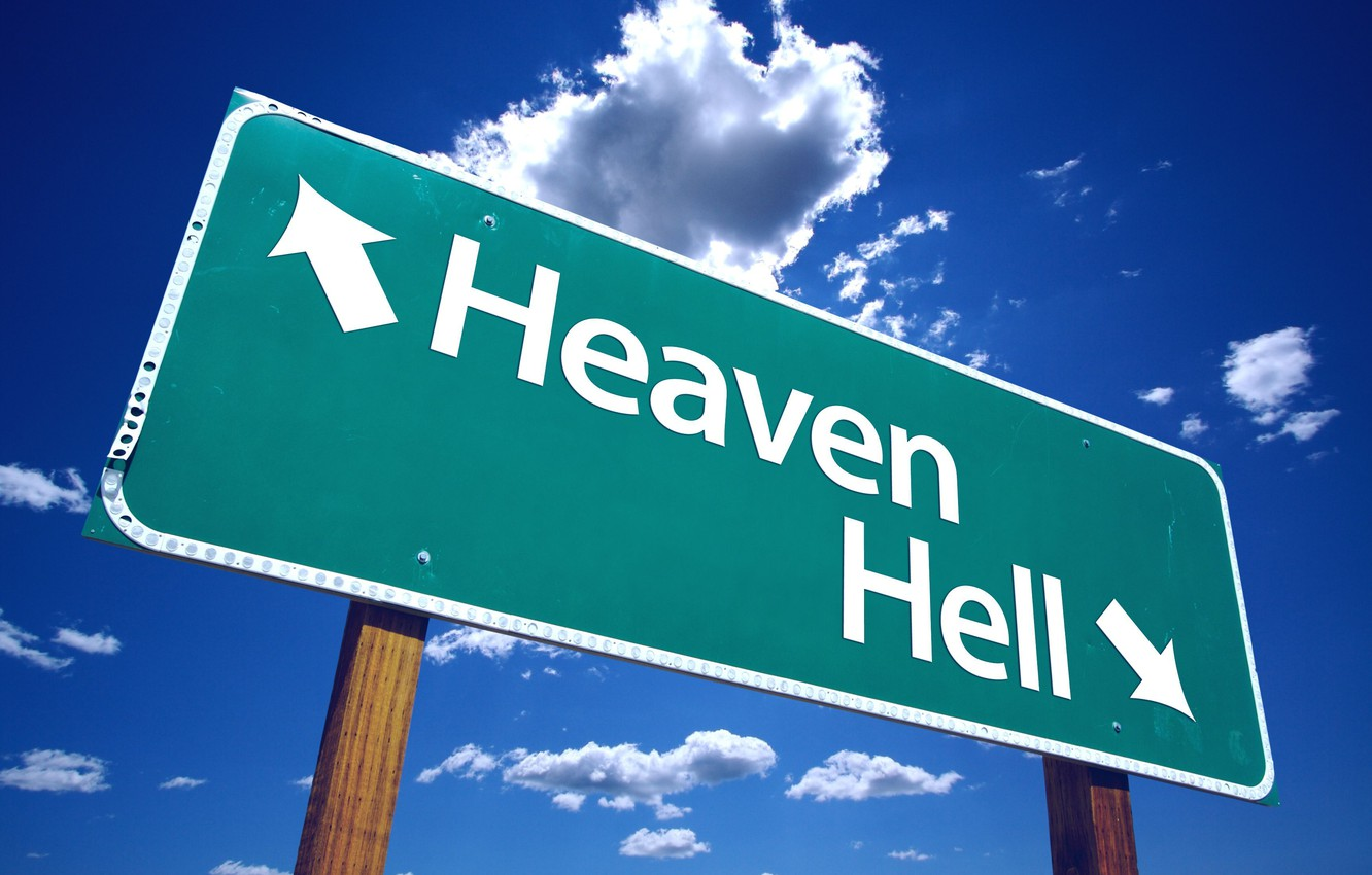 Photo wallpaper the way, Paradise, index, choice, Heaven or Hell