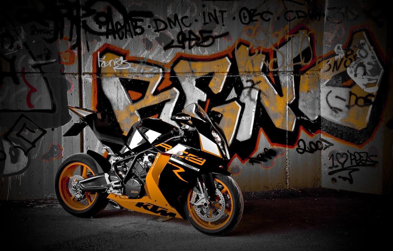 Photo wallpaper wall, black, motorcycle, black, bike, graffiti, ktm, supersport, Supersport, rc8 r