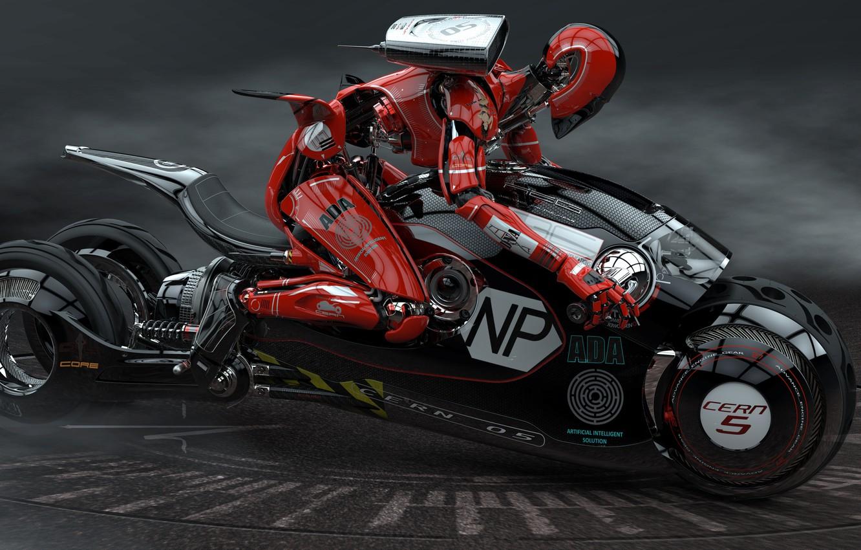 Photo wallpaper robot, motorcycle, racer, Luigi Memola