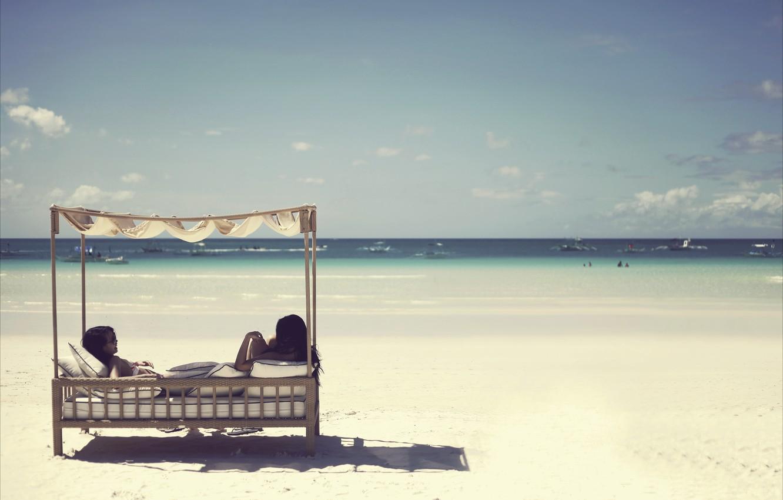 Photo wallpaper sea, beach, landscape, girls, mood, island, ships, mood, Philippines, boracay