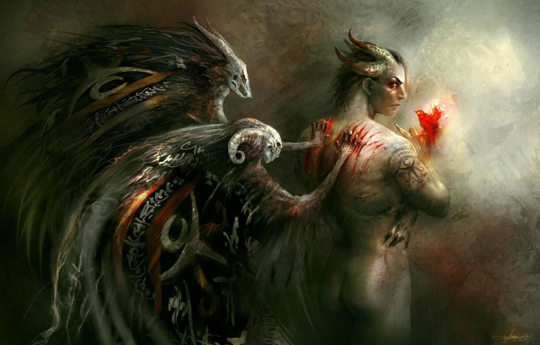 Photo wallpaper blood, back, the demon, horns, scratches, punishment, Kirsi Salonen, Firebird