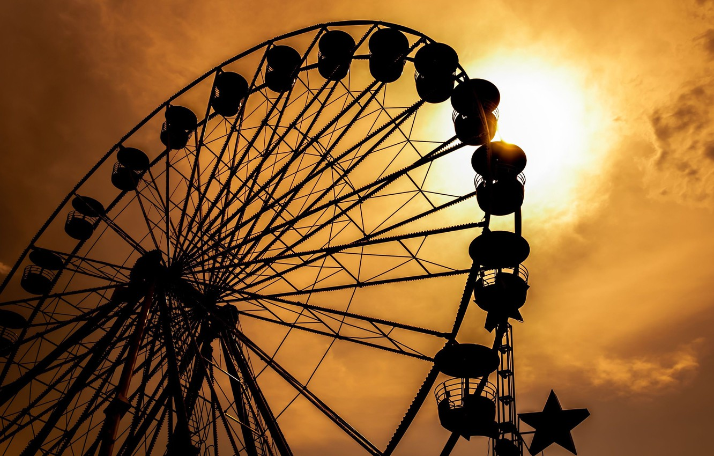 Photo wallpaper the sky, the sun, sunset, memories, time, Wallpaper, mood, black, silhouette, attraction, Ferris wheel, wallpaper, …