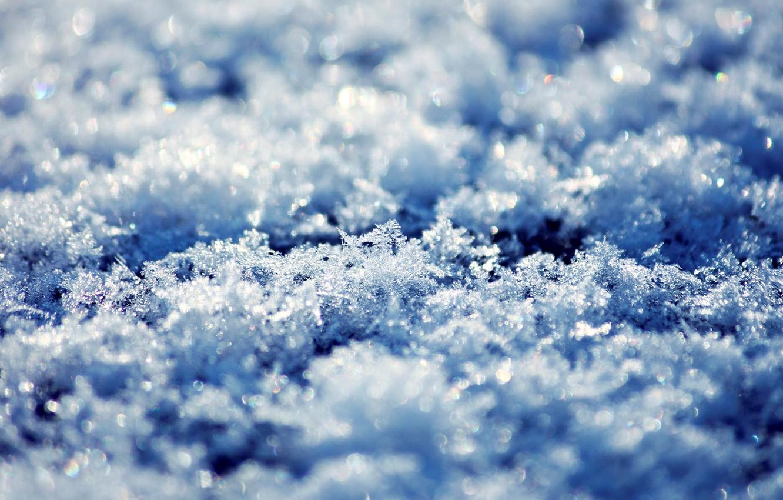 Photo wallpaper winter, snow, snowflakes, ice