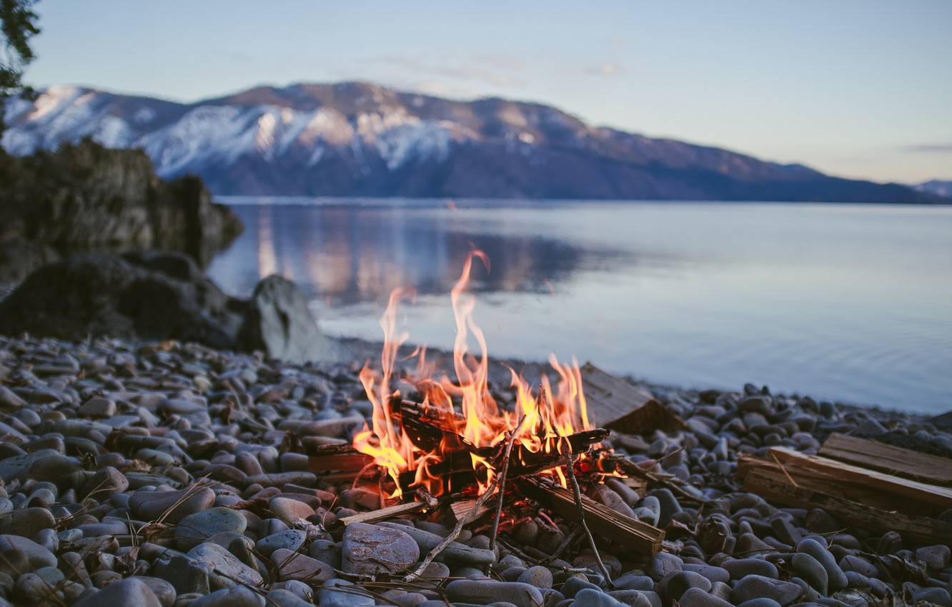 Photo wallpaper Mountains, Trees, River, Fire, Forest, Stones, The fire