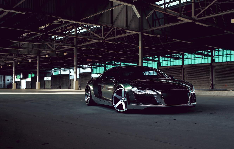 Photo wallpaper Audi, Audi, Lights, Drives, Chrome, Sports car, Matte Black, CW-5