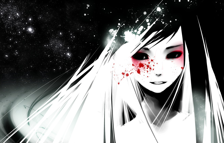 Photo wallpaper girl, face, blood