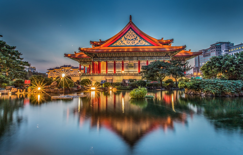 Photo wallpaper pond, reflection, the building, Taiwan, Taipei, Taiwan, Taipei, Memorial hall Chiang Kai-shek, Chiang Kai-shek Memorial …