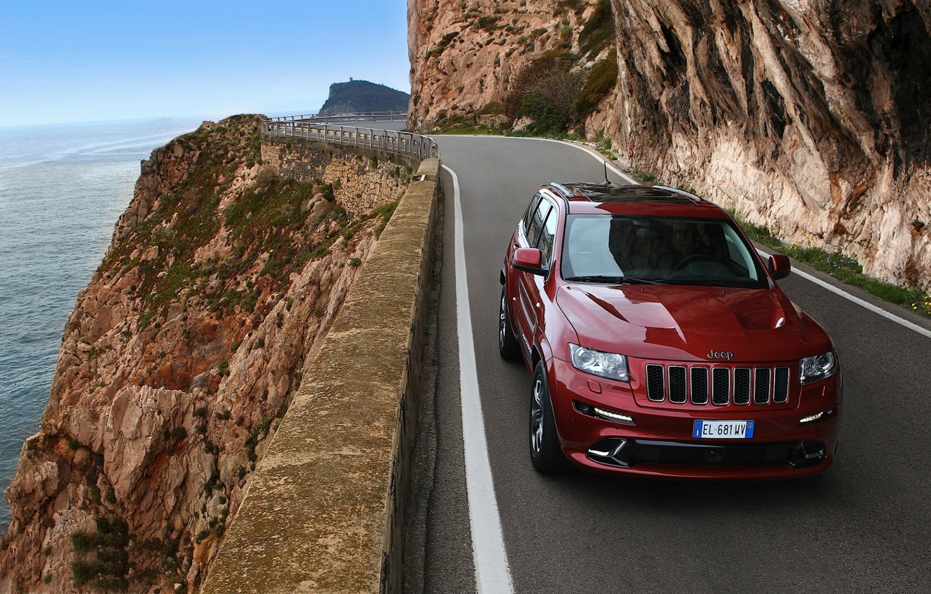 Photo wallpaper road, mountains, red, shore, jeep, the front, Jeep, СРТ8, Grand Cheroke, Grand Cherokee.SRT8.Джип