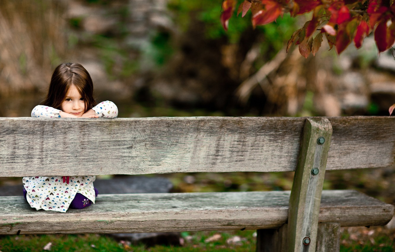 Photo wallpaper forest, look, bench, children, smile, Park, tree, mood, girls, Board, girl, benches, smile, smile, seat